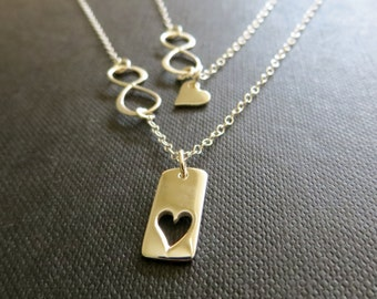 Mother of the bride Gift from daughter, infinity love necklace set, heart cutout, mother daughter jewelry, wedding gift, mom gifts