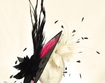 Black, White, & Pink, Sinamay Kentucky Derby Fascinator with Ombre Swarovski Crystals