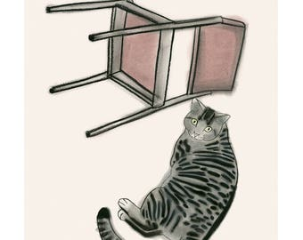 "Cat wall art -  Silver Tabby and Chair 4"" X 6"" print - 4 for 3 SALE"