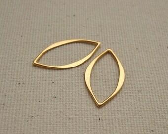 Zwei 24K Gold überzogene Marquis Link Anschlüsse 20x10mm Vermeil Stil - 2 Stück