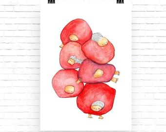 Whimsical cute illustration print, girl nursery room decor, cute newborn baby gift, baby girl birth gift pink gray nursery baby shower gift