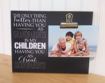 Grandparents Photo Frame Gift For Grandparents  {Only Thing Better.. Great Grandparents} Great Grandparents Picture Frame Great Grandma Gift
