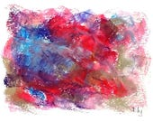 """Small abstract in blue and red, 4.25"""" x 5.5"""" original signed drawing"""