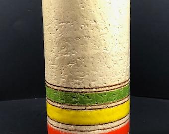 Italian Mid Century Modern Pottery Aldo Londi Bitossi Striped Vase Rosenthal Netter