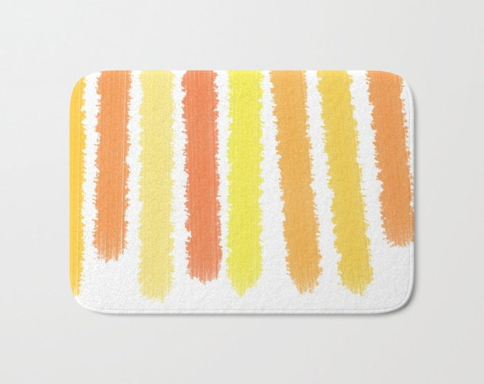 Bath Mat - Orange and Yellow Stripes - Shower Mat - Bathroom Mat -  Made to Order