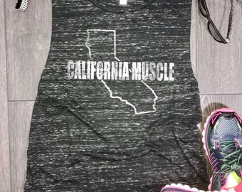 California muscle tank, womens flowy muscle tank, muscle tank top, California tank, muscle workout tank, California workout tank, CA tank