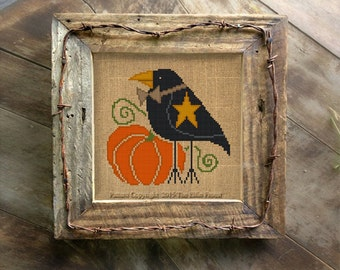 Primitive Crow Cross Stitch Pattern Halloween Needlepoint Digital Download Embroidery Chart