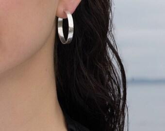Sterling Silver Wide Hoop Earrings, Matte Texture, Shiny 30mm