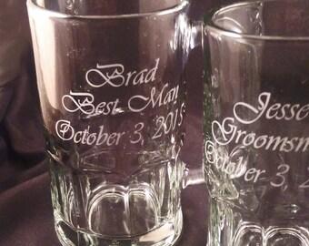 Etched Personalized Wedding Party Beer Mugs - Custom Beer Mugs - Groomsman Gift - Best Man Gift - Groom Gift - Personalized Wedding