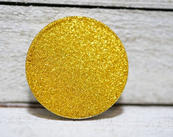 Pressed Yellow Glitter Eye Shadow, Yellow Glitter Eye Shadow, Vegan Eye Shadow, Gold Glitter Pressed Eye Shadow, Gift for Her