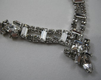 rhinestone necklace, prong set rhinestones, 16 inches long, inexpensive, gift, vintage rhinestone prom necklace, clasp repaired, AS IS