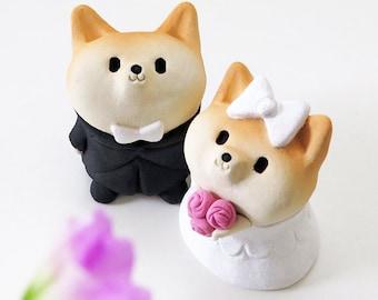 Happy wedding Shiba Inu figurines    Ceramics works