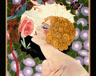 Art Deco Flapper Print, Jazz Age Flapper, Girl Smelling a Rose,  Morning Glories, Birds,  Dragonfly, Garden, Giclee Art Print, 11x14, 1925