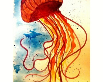 Watercolor Jellyfish Print
