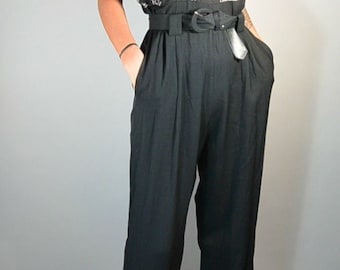 Totally 80s Jumpsuit// Black Jumpsuit Matching Top// Pleated Jumpsuit// High Waist Wide Leg Jumpsuit (F1)