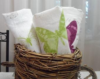 Linen Dinner Napkins. White linen napkins 13.5'' x 13.5''  Cloth napkins Pink, blue and green butterfly napkins
