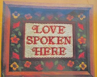 Vintage Needlepoint Kit - Creative Circle Love Spoken Here 1410 Embroidery Kit- Vintage Embroidery Kit - Vintage Crewel Kit Needlepoint Kit