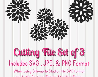 SVG Files Set of 3 Lotus Flowers--SVG PNG jpg Format-flower svg lotus svg daisy svg cutting files