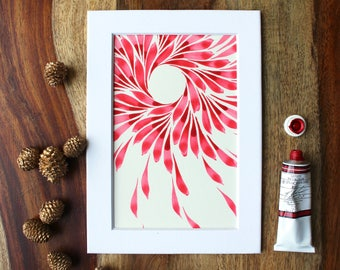 "Original Abstract Watercolor Painting | ""Red Wreath"""