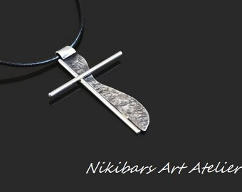 Stainless Steel Cross Necklace, Wrought Steel Cross, Hammered Cross Necklace, Artisan Cross, Abstract Mans Cross Pendant, Art Cross Necklace