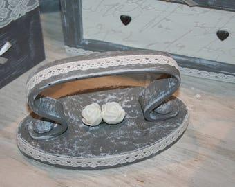 antique iron grey white lace, shabby decor
