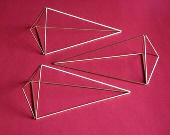 set of 3 geometric hanger planter | himmeli diamond | gold hanging terrarium geometric mobile | air plant | modern art sculpture