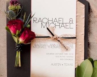 Edgy modern wedding invitation set