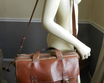 L L Bean Brown Leather Briefcase / Weekender Bag / Overnight Bag / Travel Carry on