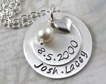 Custom hand stamped, mother gift, wedding gift or anniversary gift, personalized necklace, sterling silver, personalized gift
