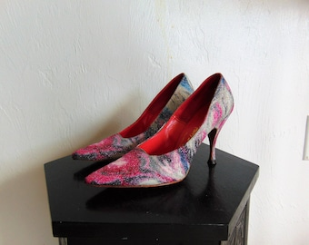 60s floral Harry Bellows STILETTOS pumps size 7N