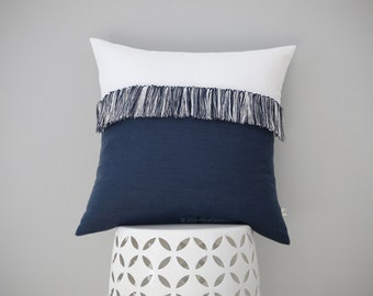 "Navy and Cream Fringe Pillow Cover with Hand Knotted Tassels 20"" x 20"" by JillianReneDecor - Modern Home Decor - Mod - Boho - Nautical"