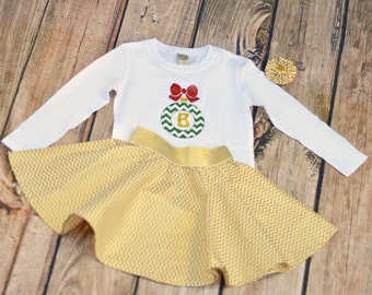 Girls Christmas Outfit - Shirt or Bodysuit - Baby, Toddler, Girls - Christmas Ornament with Initial - Personalized - Christmas Skirt