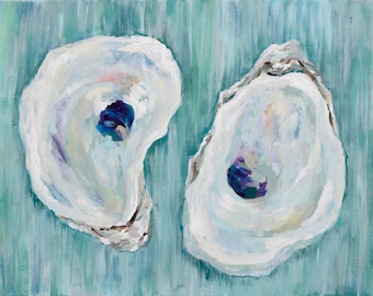 Chincoteagues on Aqua, 13x19 Signed Large Print of Original Acrylic Painting