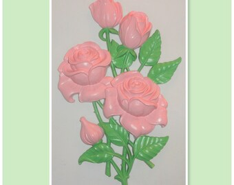 Vintage Syroco Upcycled Hand Painted PINK & GREEN Figural ROSES Floral Shabby Chic Home Decor Large Wall Plaque