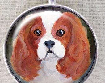 King Charles Spaniel Schlüsselanhänger ~ April Birthday ~ Original Kunst ~ Mini Malerei ~ Schlüsselanhänger Hund ~ Cavi Keychain ~ für Geschenke
