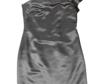 80's One Shoulder Black Satin Mini Dress Vintage Clothing Retro Dresses Prom Formal 50's 60's 70's 90's