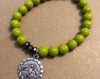 Holy Spirit, Special (LOOSE) Size, Lime Green/Hematite, Single Be Still By Caroline Stretch Bracelet
