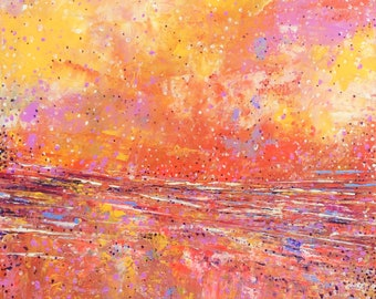 Abstract Landscape  'Lava Love' - acrylic painting on canvas - size 40cm x 40cm