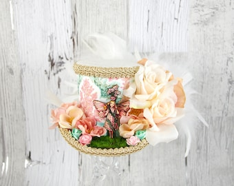 Green, Pink, and Cream Flower Garden Fairy Cutout Medium Mini Top Hat Fascinator, Alice in Wonderland, Mad Hatter Tea Party