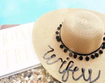 Sun Hat for Bride/Personalized Sun Hat/Sun Hat/Gift for Bride/Gift for Her/Personalized Bride Gift/Bridal Party Gift/Bridal Shower Gift/Fun