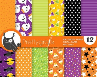 80% OFF SALE Halloween digital papers, kawaii, scrapbook papers commercial use, witch scrapbook papers, background  - PS817