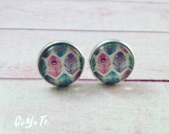 Boho, feather pin earrings, glass cabochon, boho cameo earrings