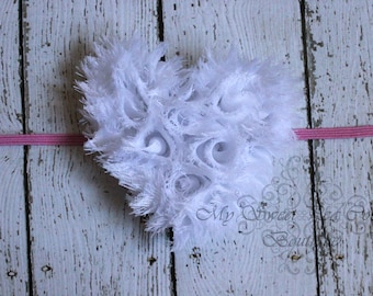 Valentine's Heart  Shabby Headband, Baby Headbands, Newborn Headbands, Infant Headbands, Toddler Headbands, Girls Headbands