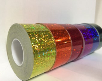 6 rolls Glittering Sparkle Tapes, 1 inch x 25 feet each, Holographic, Free Shipping for USA