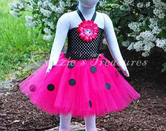 4-Piece Hot Pink Ladybug Tutu Dress - Size NB to 24 Months - Can Be Worn Different Ways