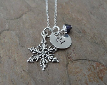 Personalized Monogram Initial Necklace - Sterling Silver FROZEN Snowflake Charm - Bridesmaid Gift - Mothers Jewelry