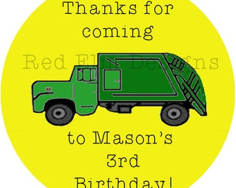 "Garbage Truck Party Stickers - Sheet of 20 - 2"" round.  Truck Birthday Party Favors.  2 Inch Round Dump Truck Birthday Party Stickers"