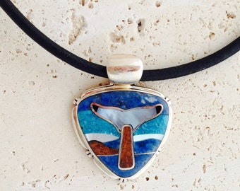 Inlaid Sterling Silver Whale's tail Necklace