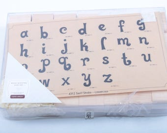 Close To My Heart, Vintage, Wood-Mounted Font Set, Rubber Stamp Set, Alphabet, Swirl Stroke, Lowercase, Boxed ~ 161130