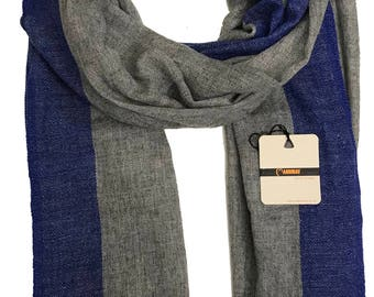 Handmade  Cashmere Scarf with Royal Blue border-Grey inner / both  men and women